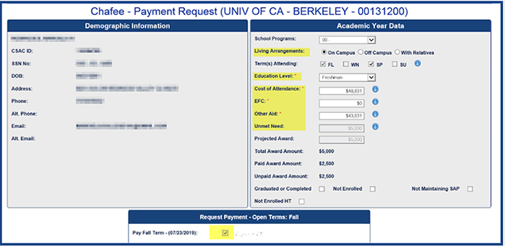 Chafee - Payment Request (Univ. of CA - Berkeley)