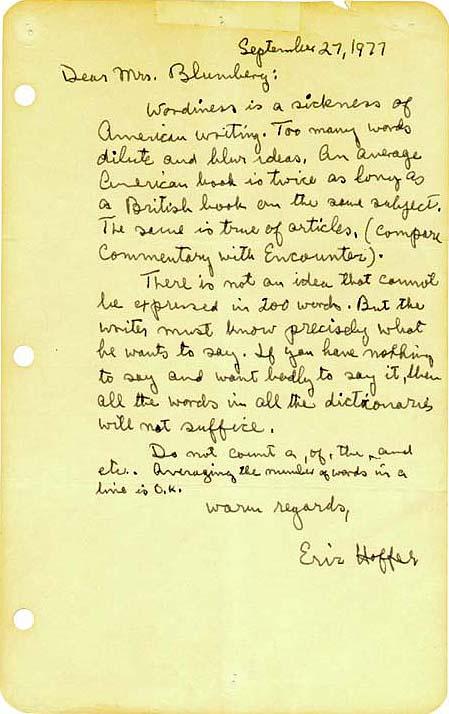 Eric Hoffer Note